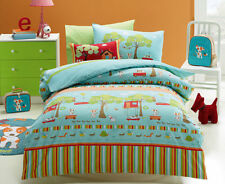 Kids Boys Quilt Doona Cover Pillowcase Set Double Bed Oliver Puppy Duvet