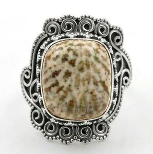 Natural Stingray Coral 925 Sterling Silver Ring Jewelry Sz 7.5 IT10-2