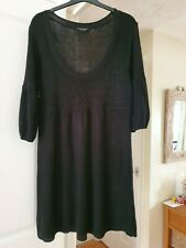 Dorothy Perkins Black Ribbed Knitted Dress, 3/4 Sleeves, Size 14, VGC