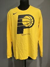 Indiana Pacers Nike Mens Dri-Fit  T-Shirt Size: LG Yellow Long Sleeve Pre-owned