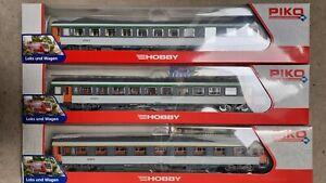 3 Voitures Corail SNCF HO 1/87 PIKO 58637 C, 58630 B et 58637 A