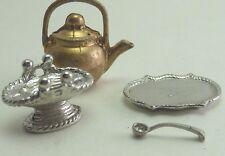 Vintage Dollhouse Miniature Pewter Metal Tableware Serving Accessories Lot