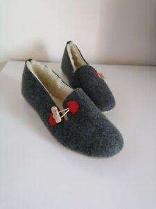 Felt Ballerina Slippers Sheep Wool Graphite Red Details