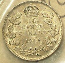 1936 Canada 10 Cents Bar Variety ICCS VF 30 #5813