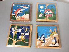 VINTAGE 80s #4 x WOOD PUZZLE IN LEGNO PER BAMBINI ANNI 80#NUOVI SIGILLATI