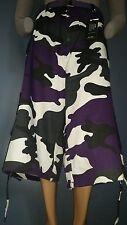 Men Cargo Shorts Sz 50W Military Purple Camo Matching Belt Drawstring Bottom
