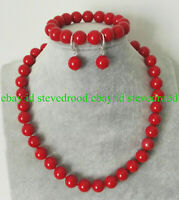 Fashion 10mm South Sea RED Coral Round Gemstone Gems Necklace Bracelet Earrings