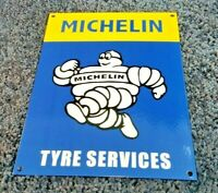 MICHELIN TIRES PORCELAIN GAS BIBENDUM VINTAGE STYLE SERVICE STATION DEALER SIGN