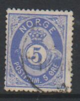 Norway - 1878, 5 ore Ultramarine stamp - G/U - SG 52