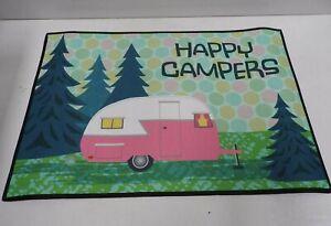 Caroline's Treasures VHA3004MAT Happy Campers Glamping Trailer Indoor or Outdoor