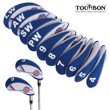 Tourbon 10pc Neoprene UK Flag Golf Iron Headcovers Set f/ Titleist Callaway Ping