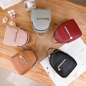 Mini Backpack Bag For Teenage Girl Solid Color Women Shoulder Phone Purse UK