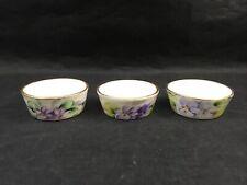 Limoges France P& P Kayser Hand Painted Open Salt Set of 3 Violet Flower Pattern