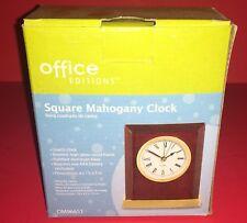 Office Editions Square Mahogany Quartz Clock Brand New In Box