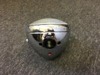 "Lucas Type 7"" Chrome Headlight with 5 holes BSA Triumph Norton Ajs Trials Custom"