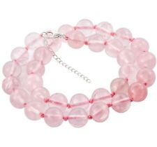 """LARGE 12 mm ROSE QUARTZ BEAD Necklace knotted with 925 Silver extender 18+2"""" #L4"""