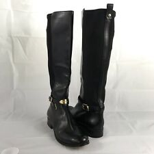Michael Kors Black Leather Knee High Riding Boots Size 8M