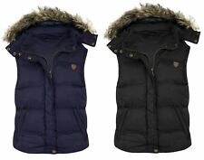 New Womens Padded Sleeveless Gilet Faux Fur Hooded Puffer Body Warmer Jacket