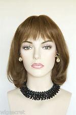 Light Gold Reddish Brown Brunette Short Human Hair  Straight Skin Top Wigs