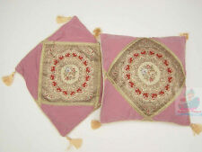 PAIR(2PCS) pink Suede Fabric w/ Embroidery Floral Fashion Style Cushion Cover