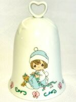 """Precious Moments Bell Porcelain MEOWIE CHRISTMAS 1995 4.25"""""""