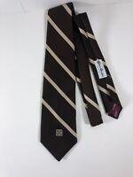 Vintage Givenchy Tie Gentlemen Paris Brown Striped International Rare Authentic
