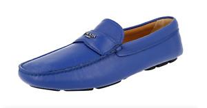 Prada Mens Daino Royal Blue Slip On Loafer Shoes Size 12