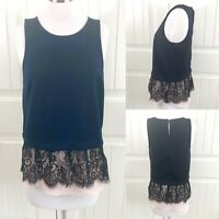 Chelsea28 Nordstrom Women's Navy Blue Lace Sleeveless Peplum Top Size Small S