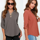 Sexy Women's V-Neck T Shirt OL Tops Blouse Casual Long Sleeve Chiffon Shirt