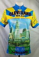 PYRO Mens Racing Jersey Blue 1/4 Zip Short Sleeve Cycling Shirt Pockets Size M