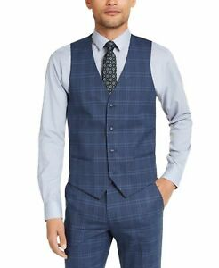 Alfani Mens Suit Separtes Blue Size Large L Vest Slim Fit Stretch $100 #025