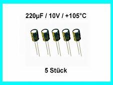Elko - Kondens. China 220µF (220uF) / 10V / +105°C / ca. 6 x 7mm / 5 Stück Neu
