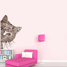 Floral cat Wall Sticker Art Removable Vinyl Mural Room Decor DIY Home Decal