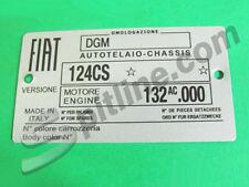 TARGHETTA IDENTIFICATIVA DATI FIAT 124 SPIDER 1600 3^ SERIE (124CS - 132 AC.000)
