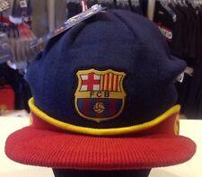 Barcelona FC Visor Beanie Winter Hat Cap New W/Tags Navy