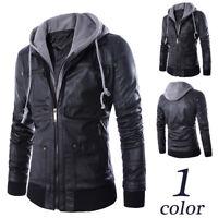 Men's Hooded Leather Biker Motorcycle Jacket Overcoat Slim Fit Coat Outwear New