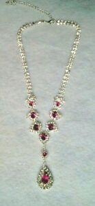 HOT PINK AND CLEAR CRYSTAL SILVER FINISH NECKLACE