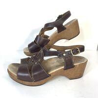 Dansko Womens Platform Heel Clogs Strap Sandals Brown Leather EU 41 US 10.5