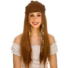 Deluxe Pirate Wig & Bandana Shipmate Adults Womens Fancy Dress Costume Accessory