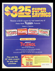 1984 Adult Tylenol Acetaminophen Tablets Circular Coupon Advertisement