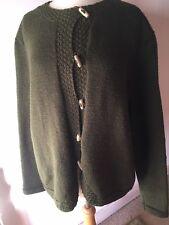Hand Knitted Khaki Olive Jacket Cardigan Wool Mix L