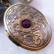Amethyst CZ Flower Oval Brass Picture Photo Locket Charm Pendant Necklace