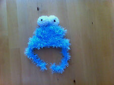 handmade blue furry fluffy cookie monster hat for pet dog small size pet hat
