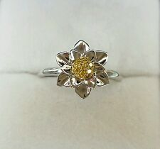 New!!Genuine diamonds sterling silver flower design ring,size k,QVC