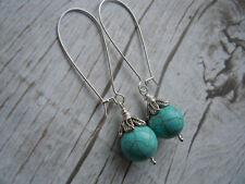 Turquoise Hook Silver Plated Round Costume Earrings