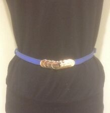 *Women's Blue Belt With Gold Oval Buckles*