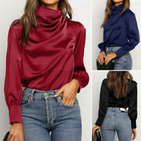 ZANZEA Women Elegant Long Sleeve Shirt Tops Casual Loose Plain Blouse Plus Size