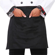 2Pcs Half Short Waist Apron With Pocket Waiter Waitress Kitchen Cafe Pub Barista