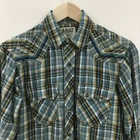 Womens Small ARIAT Embroidered Western Pearl Snap Shirt Saw Tooth Plaid 25c