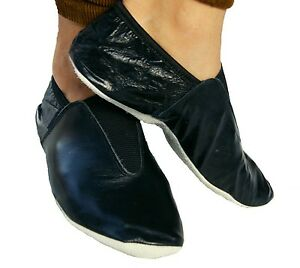 Leather Gymnastic training dance shoes Black indoor wear all sizes FREE SHIPPING